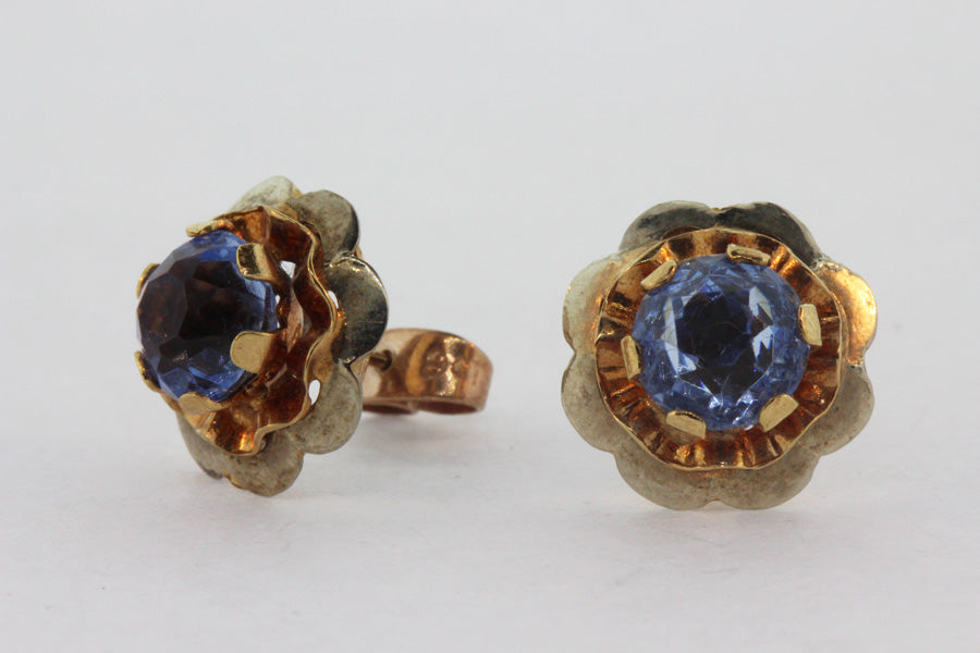 Vintage 18ct Yellow Gold Cornflower Blue Spinel Stud Earrings