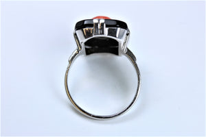 Natural Coral and Onyx Ladies Ring