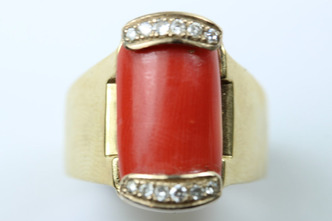 Coral and Diamond Ladies Ring
