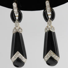 9ct White Gold Onyx and Diamond Stud Drop Earrings