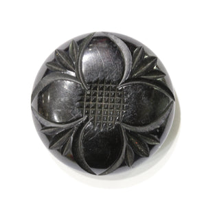 Carved Round Flower Whitby Jet Brooch.