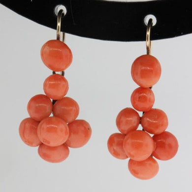 Antique 9ct Yellow Gold Natural Momo Coral Drop Earrings