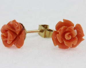 9ct Yellow Gold Natural Momo Coral Carved Stud Earrings