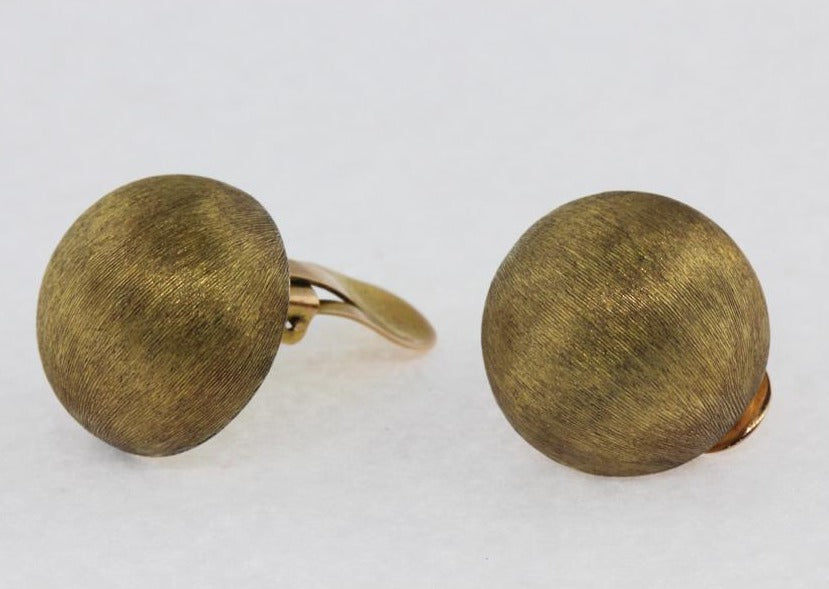 Modernist 14ct Yellow Gold Brushed Clip On Earrings
