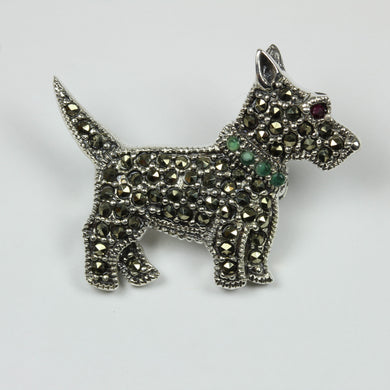 Sterling Silver Marcasite Emerald Ruby Scottish Terrier Dog Brooch