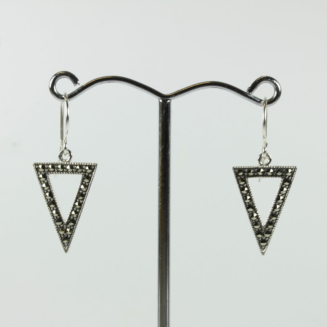 Sterling Silver Triangular Marcasite Shepherd Hook Earrings
