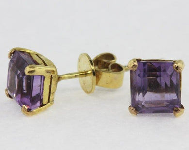 14ct Yellow Gold Square Cut Amethyst Stud Earrings