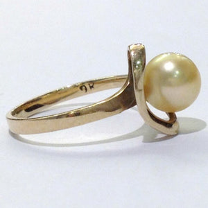Vintage 9ct Yellow Gold Cultured Golden Yellow Pearl Ring