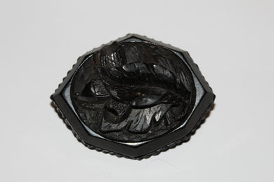 Octagon Carved Acorn Whitby Jet Brooch
