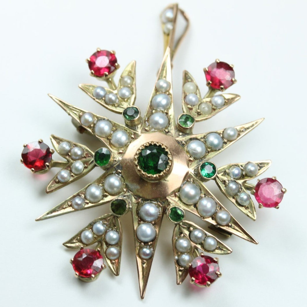 Antique 9ct Yellow Gold Ruby, Pearl, and Peridot Starburst Brooch.