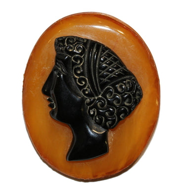 Whitby Jet and Amber Cameo Brooch