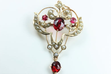 Red Spinel and Seed Pearl Brooch