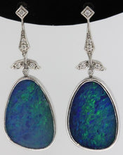9ct White Gold Solid Opal and Diamond Drop Earrings
