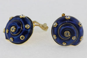 Enamel and CZ Shell Clip On earrings