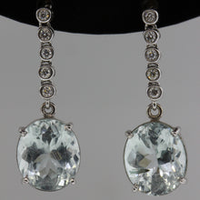 9ct Aquamarine and Diamond Earrings