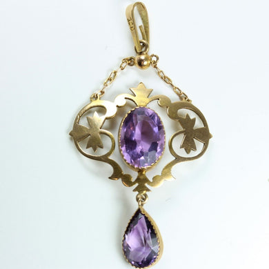Vintage 9ct Yellow Gold Amethyst Pendant