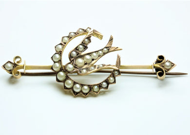 Antique 9ct Yellow Gold Seed Pearl Crescent Bird Bar Brooch