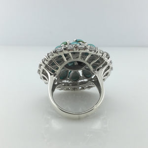 Sterling Silver Turquoise Cubic Zirconia Ring
