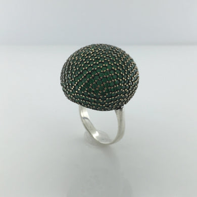 Sterling Silver Emerald Ball Ring