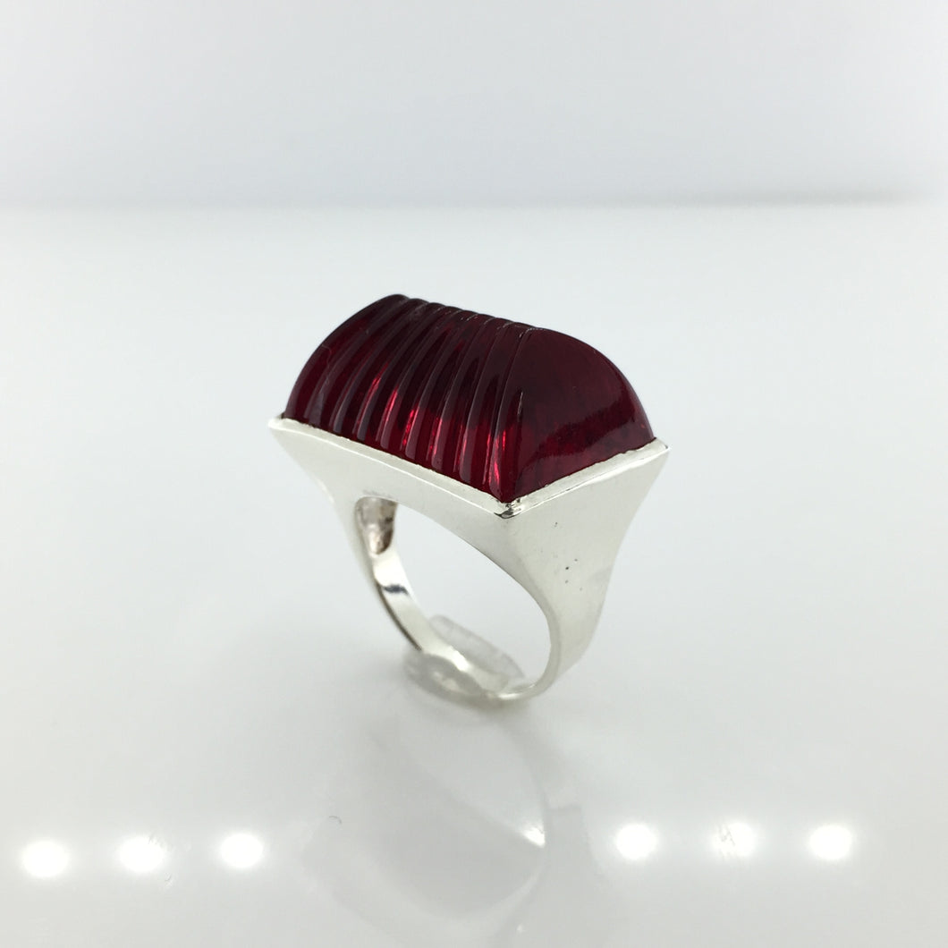 Sterling Silver Fancy Cut Crimson Red Glass Ring