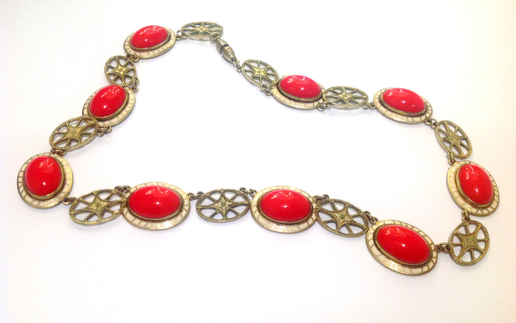 Vintage Enamel Costume Necklace