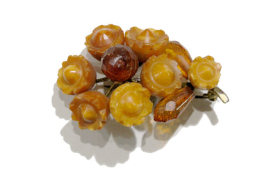 Carved Amber Brooch
