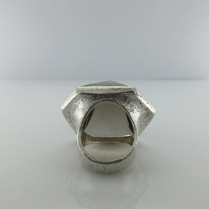 Large Sterling Silver Smokey Free Form Topaz Ring