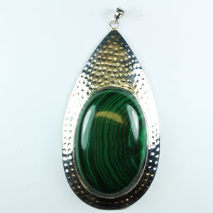 Malachite Hammered Silver Tear Drop Pendant