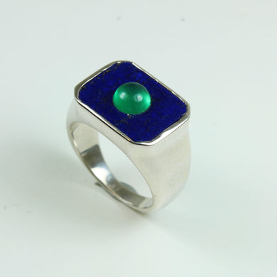 Lapis Lazuli And Green Onyx Sterling Silver Ring