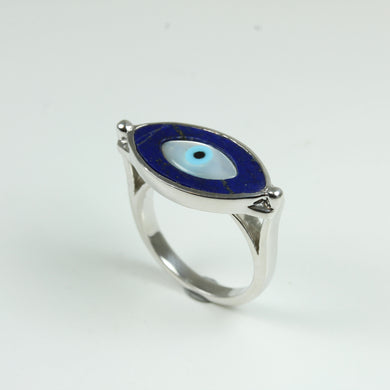 Lapis Lazuli And Mother of Pearl Evil Eye Sterling Silver Ring