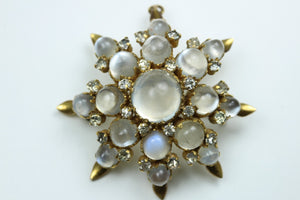 Moonstone and Diamond Brooch