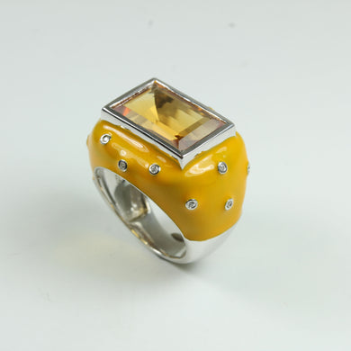 Sterling Silver Citrine, Cubic Zirconia and Yellow Enamel Cocktail Ring