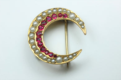 Ruby and Moonstone Brooch