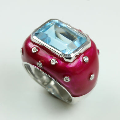Sterling Silver Swiss Blue Topaz, Cubic Zirconia and Red Enamel Cocktail Ring