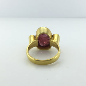 Gold Plated Sterling Silver Diamond old cut and Rubilite Tourmaline Ring