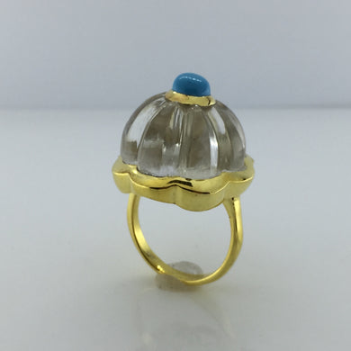 Gold Plated Sterling Silver Rock Crystal And Turquoise Ring
