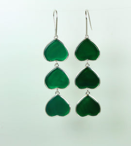 Green Onyx Heart Sterling Silver Hanging Hook Earrings