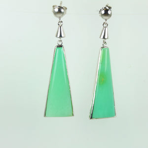 Green Chrysoprase Sterling Silver Hanging Stud Earrings