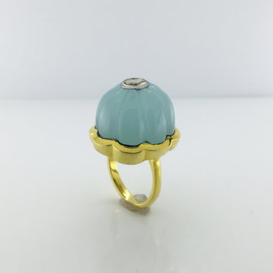 Gold Plated Sterling Silver Blue Chalcedony And Diamond Ring