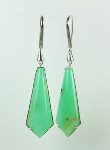 Green Chrysoprase Sterling Silver Hanging Hook Earrings