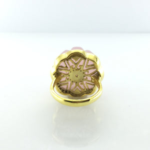Gold Plated Sterling Silver Rose Quarts And Citrine Ring
