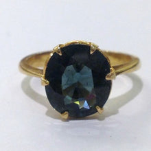 22ct Yellow Gold Solitaire Green Sapphire Ring