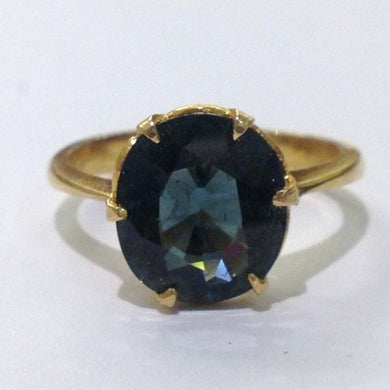 Antique 22ct Yellow Gold Solitaire Green Sapphire Ring