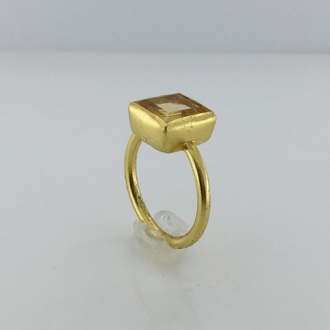 Gold Plated Sterling Silver Square Cut Citrine Ring