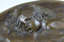 Art Nouveau Bronze Plate With  Koi Fish and Child