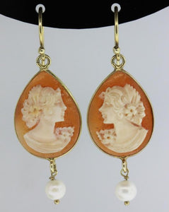 9ct Antique Cameo and Pearl Earrings