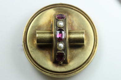 Pink Tourmaline and Pearl Brooch