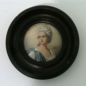 Handpainted Ivorine Miniature Portrait of a Woman in a Round Frame