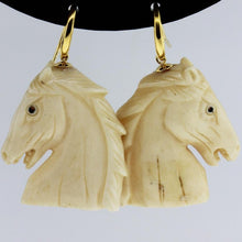 Antique 9ct Yellow Gold Horse Head Carved Ivory Drop Earrings