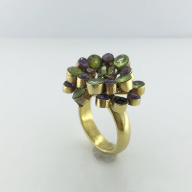 Gold Amethyst And Peridot Cluster Ring